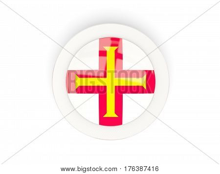 Round Flag Of Guernsey With Carbon Frame