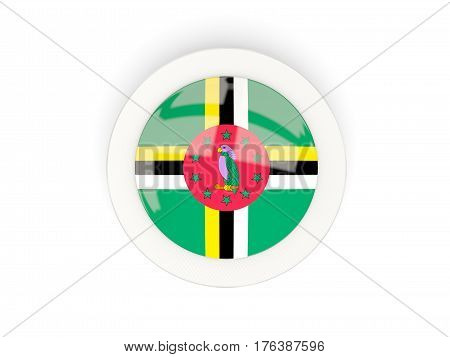 Round Flag Of Dominica With Carbon Frame
