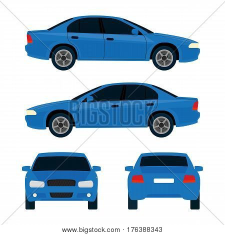 Vector city car, four views, top, side, back, front. Car vehicle, car transport. Flat illustration icons. Isolated on white background