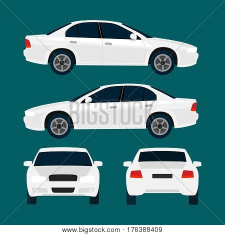 Vector white city car, four views, top, side, back, front. Car icon isolated on background. Flat design