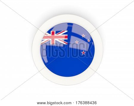Round Flag Of New Zealand With Carbon Frame