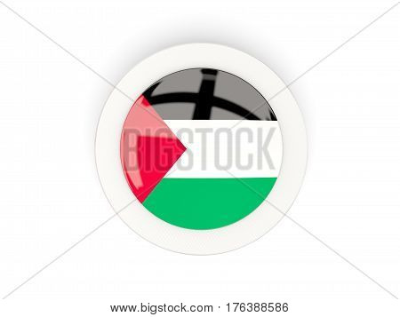 Round Flag Of Palestinian Territory With Carbon Frame