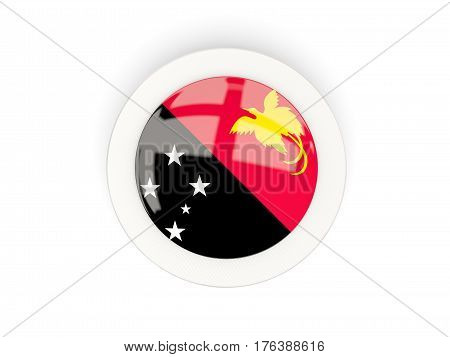 Round Flag Of Papua New Guinea With Carbon Frame