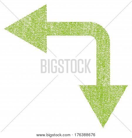 Bifurcation Arrow Left Down vector textured icon for overlay watermark stamps. Fabric light green vectorized texture. Symbol with dirty design. Rubber seal stamp with fiber textile structure.