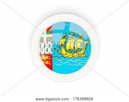 Round Flag Of Saint Pierre And Miquelon With Carbon Frame