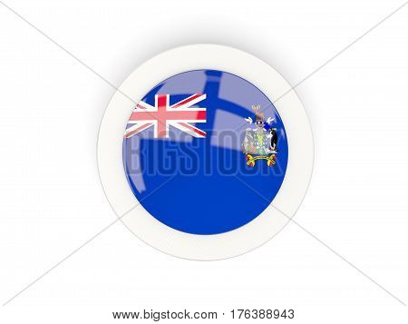 Round Flag Of South Georgia And The South Sandwich Islands With Carbon Frame