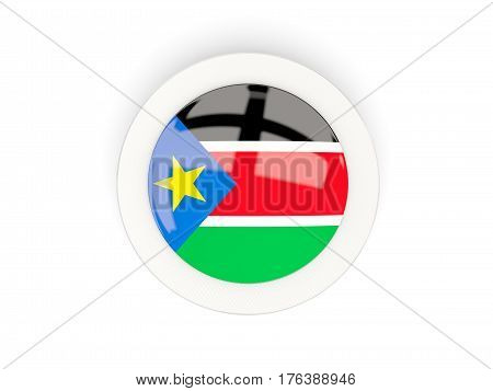 Round Flag Of South Sudan With Carbon Frame
