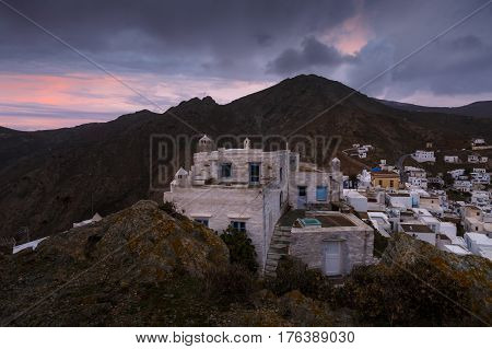Europe, Mediterranean, Greece, Aegean, Cyclades, Serifos, Chora, Greek, Cycladic, landscape, village, sunrise, morning, mountains,