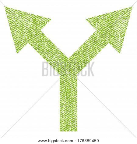 Bifurcation Arrow Up vector textured icon for overlay watermark stamps. Fabric light green vectorized texture. Symbol with unclean design. Rubber seal stamp with fiber textile structure.