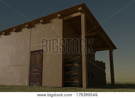 firewood in shed raw material for fuel, osb3 walls, 3d render