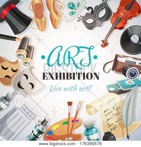 Pointe shoes camera theatrical masks binoculars palette paper and feather violin around lettering art exhibition vector illustration