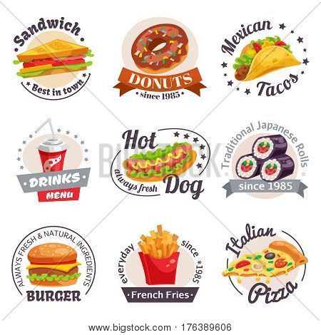 Fast food set of labels with burgers hotdogs japanese rolls drinks and design elements isolated vector illustration