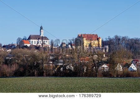 The renaissance Erbach Castle and the baroque Church of St. Martin in Erbach an der Donau Baden-Wurttemberg Germany.
