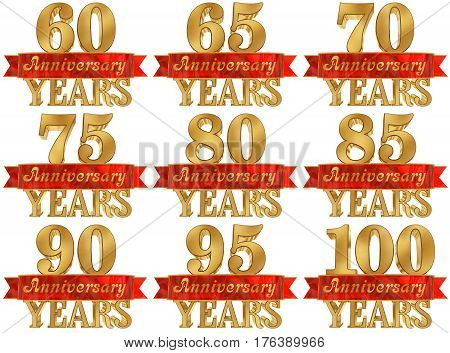 Set of golden digit and the word of the year. 3D illustration