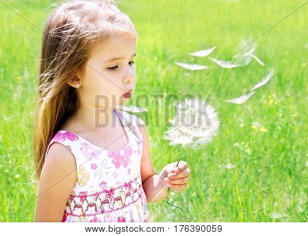 Adorable little girl blowing dandelion on green meadow in summer day