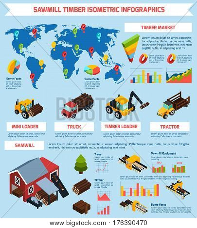 Timber market infographics isometric layout with sawmill equipment and timber shipping and loading vehicles vector illustration
