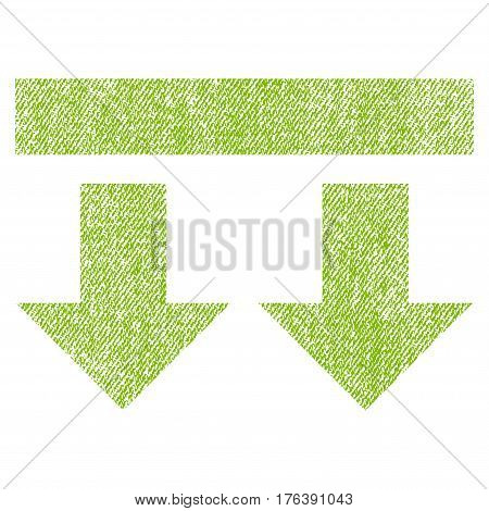 Bring Down vector textured icon for overlay watermark stamps. Fabric light green vectorized texture. Symbol with unclean design. Rubber seal stamp with fiber textile structure.
