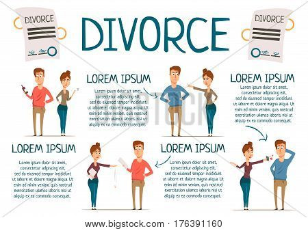Divorce rate marriage infographics with cartoon partner characters of wife and husband with editable paragraphs of text vector illustration