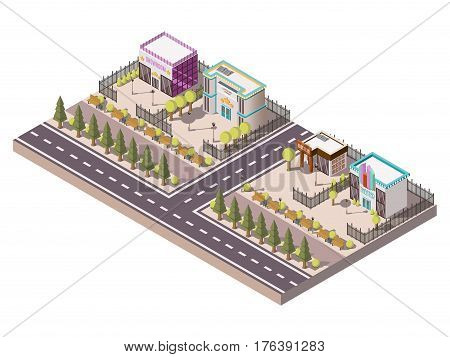 Entertainment places isometric concept with showroom theater and bar vector illustration