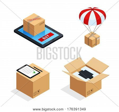 Set of four isolated isometric gadget delivery stages images online order parachute shipping receipt and unpacking vector illustration