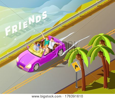 Friends travelling in tropics in lux bright magenta leased car isometric view wit roadside palms poster vector illustration