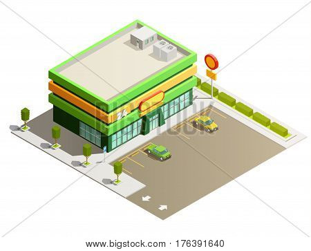 Department store supermarket light green modern building exterior outdoor isometric view with adjacent parking lot vector illustration