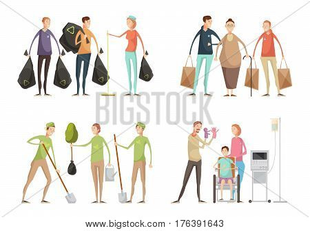 Set of four volunteering compositions with groups of young volunteers in uniform performing various service tasks vector illustration