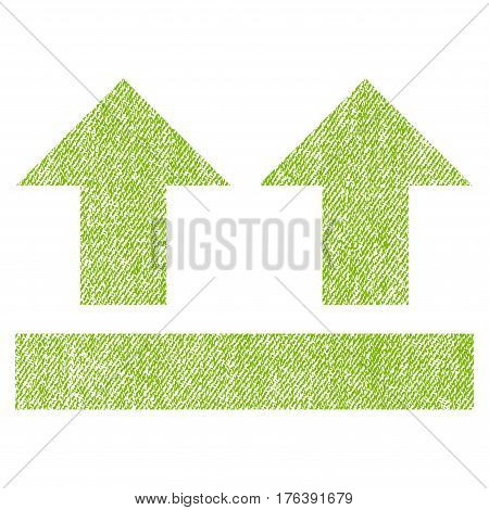 Bring Up vector textured icon for overlay watermark stamps. Fabric light green vectorized texture. Symbol with unclean design. Rubber seal stamp with fiber textile structure.