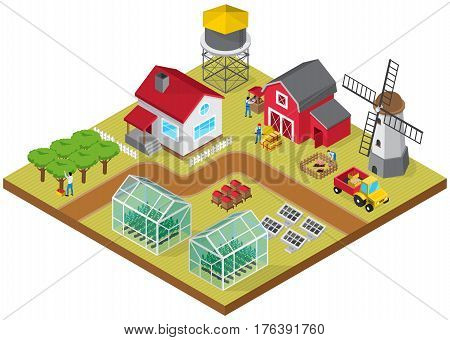 Farmyard buildings cattle raising facilities mill tractor greenhouses beehives orchard with farmworkers 3d isometric model vector illustration