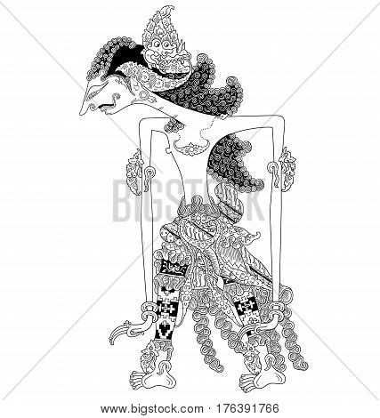 Brantalaras, a character of traditional puppet show, wayang kulit from java indonesia.