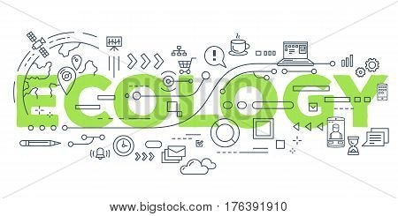 Vector Creative Illustration Of Ecology Word Lettering Typography With Line Icons On White Backgroun