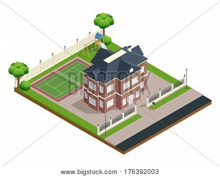 Suburb house isometric composition with sports ground and trees vector illustration