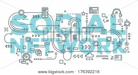 Vector creative illustration of social network word lettering typography with line icons on white background. Social networking concept. Thin line art style design for business idea theme website banner
