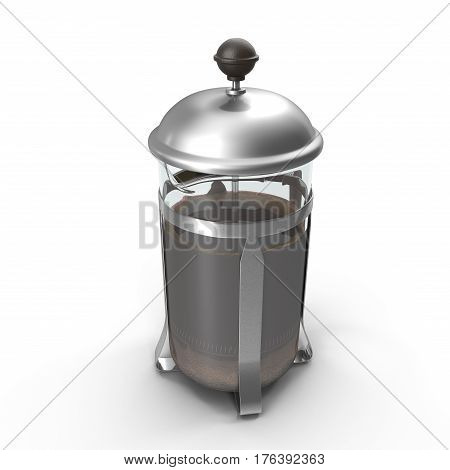 French Press Coffee or Tea Maker isolated on white background. 3D illustration