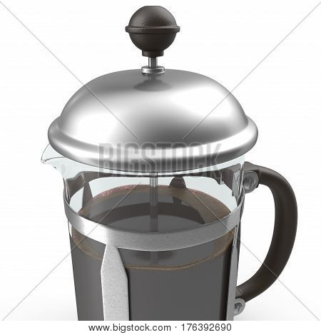 French press coffee maker on white background. 3D illustration