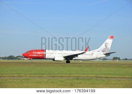 Amsterdam the Netherlands - June 9th 2016: LN-NGB Norwegian Air Shuttle Boeing 737-8JP(WL) take off from Polderbaan runway Schiphol destination Copenhagen Danmark
