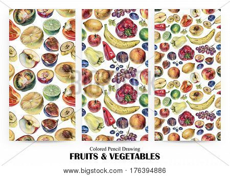 Set of seamless patterns with fruits berries and vegetables drawn by hand with colored pencil. Healthy vegan food. Fresh raw foodstuffs painted from nature