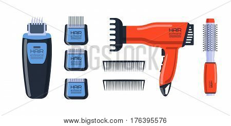 Barber salon professional set with tools equipment and twisting grooming metal barbershop care hairdressing stylist electric accessory vector illustration. Brush comb beauty style design.