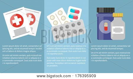 Medicine icons collection with text information below. Pills and capsules in special plates, grey and blue bottles with medicines inside and two things with white crosses on red circles vector poster