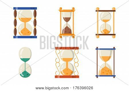 Sandglass icon time flat design history second old object and sand clock hourglass timer hour minute watch countdown flow measure vector illustration. Transparent glass pressure instrument.