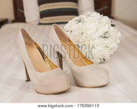 Closeup Detail Of Bridal Stiletto Shoes