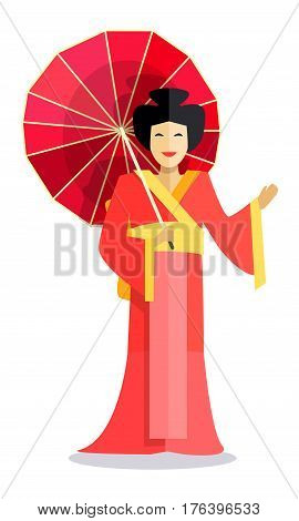 Isolated standing chinese woman holds red umbrella and waves. Smiling female person with dark collected hair and in traditional oriental reddish with yellow dress. Vector illustration of chinese woman