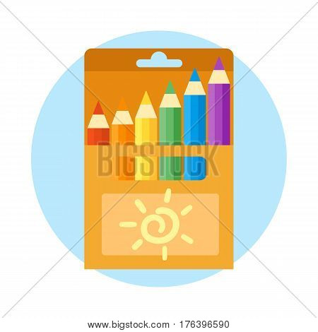 Colored engineering office and pencils vector illustration simple equipment school supplies subject secretarial tools pastel vertical color education sign. Hand drawn signs for creation game.