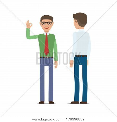 Businessmen pleased with result. Man in shirt and tie showing ok gesture for his interlocutor flat vector isolated on white background. Successful negotiations illustration for business concept design