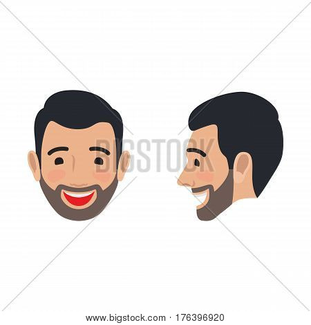 Laughing brunet man face icon. Smiling bearded male head in full face and profile view flat vector isolated on white background. Human positive emotions illustration for people infographics