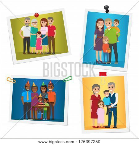 Happy family pinned portraits set. Smiling parents and grandparents standing with children and celebrating kids birthday with friends on pictures with pins and clips isolated flat vector illustration
