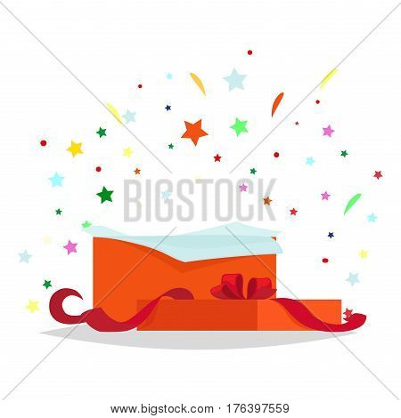 Open red gift box with bow and stars that pop-up out of it on white. Salute fireworks elements behind the box with surprise. Celebrate holidays and exchange gifts isolated vector illustration.