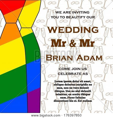 Gay Wedding illustration for invitation cards lgbt community