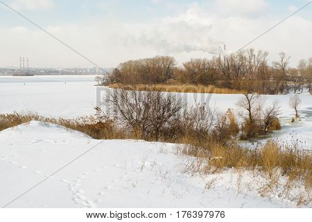 Colors of winter - seasonal landscape with Ukrainian river Dnepr near Dnepropetrovsk city.