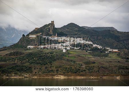 View of Zahara de la sierra town, Pueblos blancos, Spain